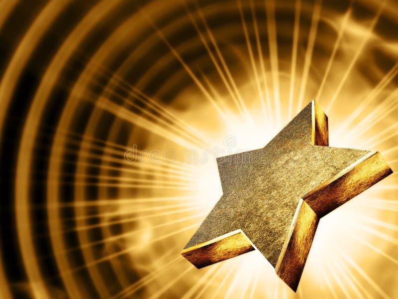 Étoile d'or dans les rayons illustration stock
