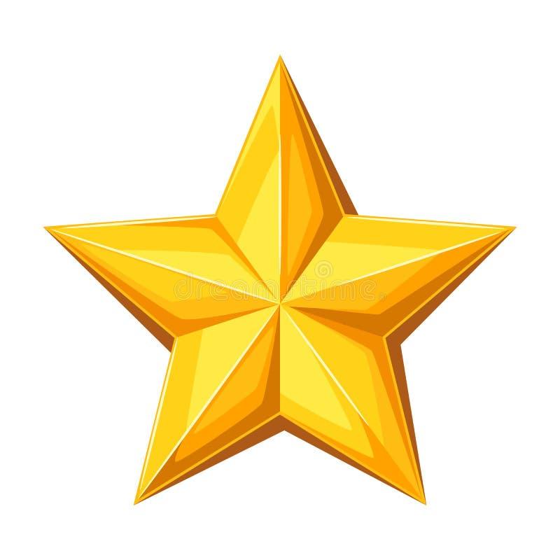 Étoile d'or de Realictic Empreinte digitale illustration stock