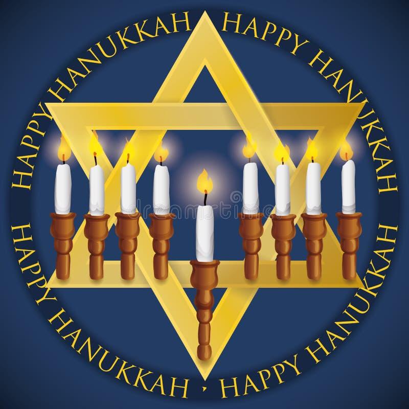 Étoile d'or du ` s de David comme Chanukiah pour célébrer Hanoucca, illustration de vecteur illustration stock