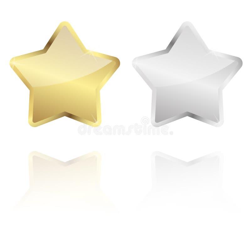 étoile d'or et argentée avec la réflexion illustration de vecteur