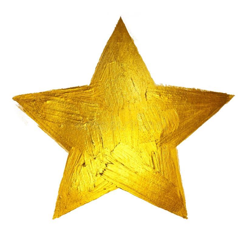 Étoile d'or Illustration tirée par la main de tache brillante de peinture images stock