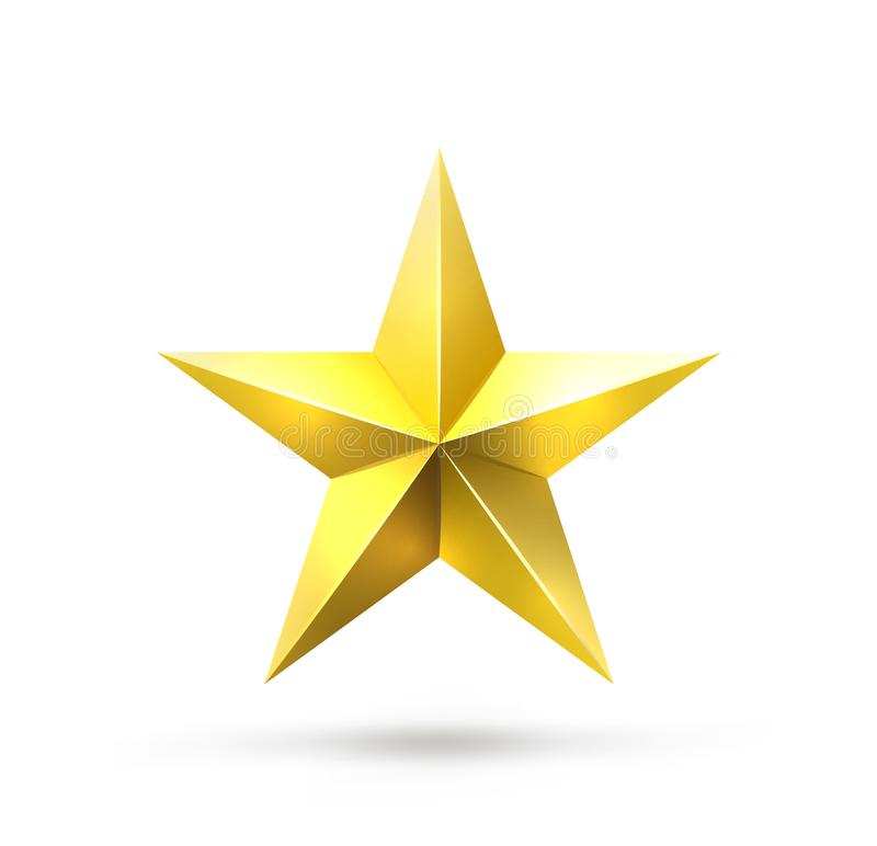 Étoile d'or sur le blanc illustration stock
