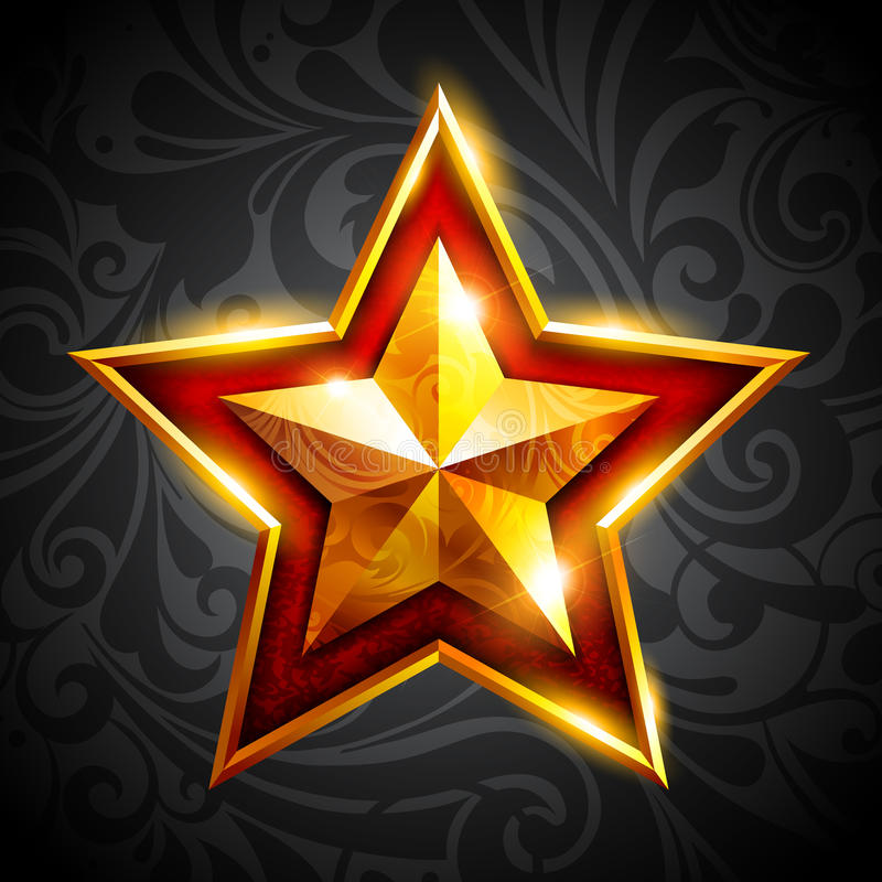 Étoile d'or sur un fond foncé illustration libre de droits