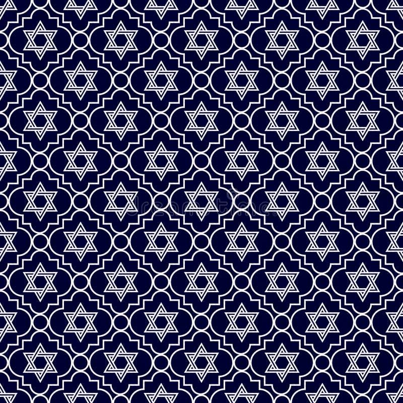 Étoile de bleu marine et blanche de David Repeat Pattern Background illustration stock