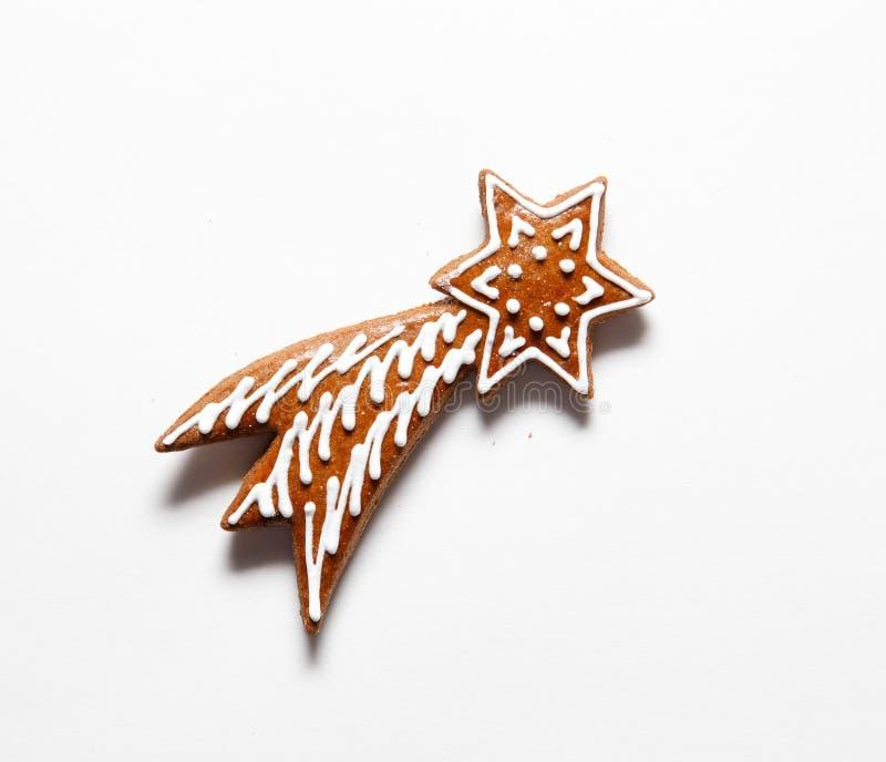 Étoile de chute concept de Noël de comète Biscuits de pain d'épice photos libres de droits