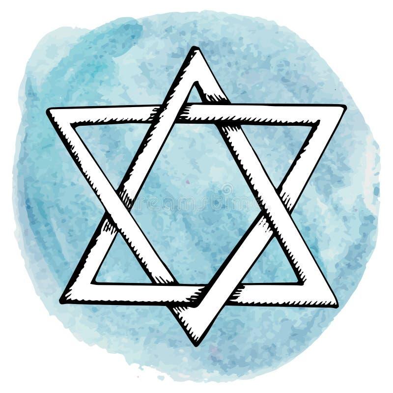 Étoile de David, éclaboussure de cercle d'aquarelle l'israel illustration de vecteur