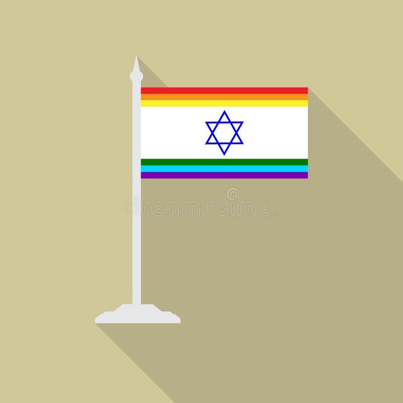 Étoile de David bleue de drapeau israélien de fierté gaie avec l'icône plate de mât de drapeau avec le long shadowt Drapeau de la illustration de vecteur