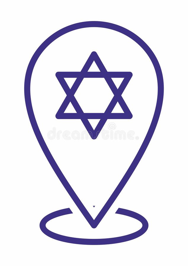 Étoile de David, bouclier de David ou Magen David icône d'emplacement pour le but multi Marqueurs de carte illustration stock