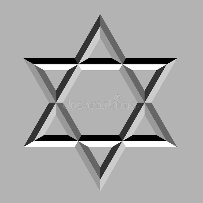 Étoile de David découpée par pierre illustration stock