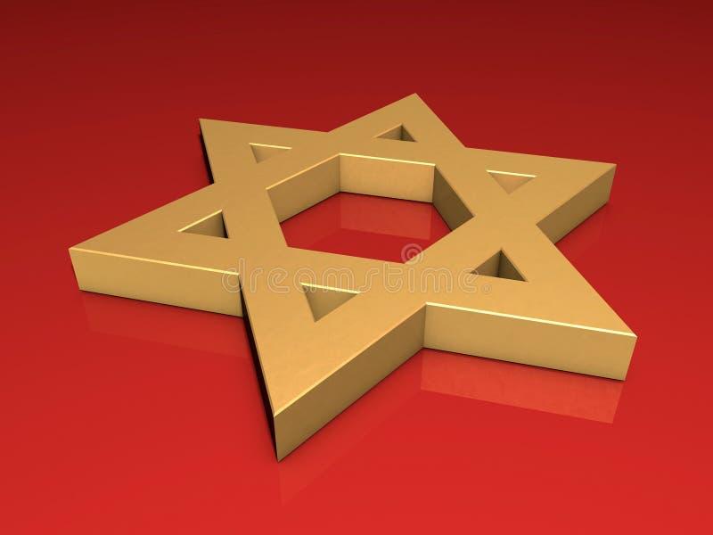 Étoile de David d'or illustration de vecteur