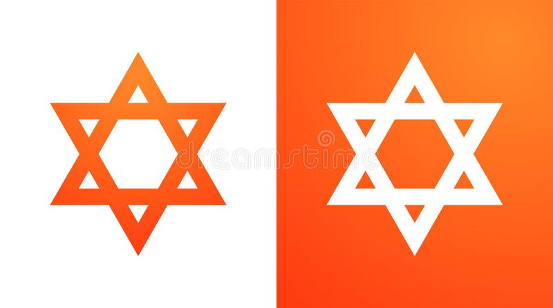 Étoile de David dans la couleur orange Symbole de Hexagram de judaism illustration stock