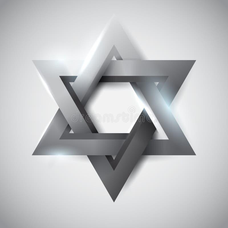 Étoile de David grise illustration stock