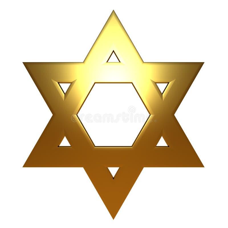Étoile de David juive d'or d'or illustration stock