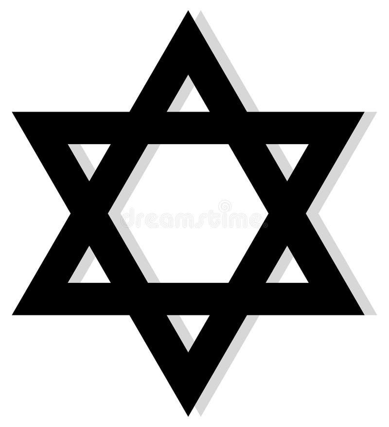 Étoile de David noire avec l'ombre grise sur un fond blanc d'isolement illustration libre de droits