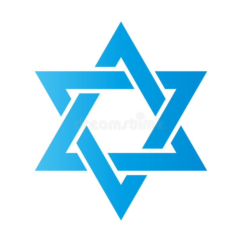 Étoile de David Signe de Hexagram Symbole d'identité et de judaïsme juifs Illustration bleue plate simple illustration stock