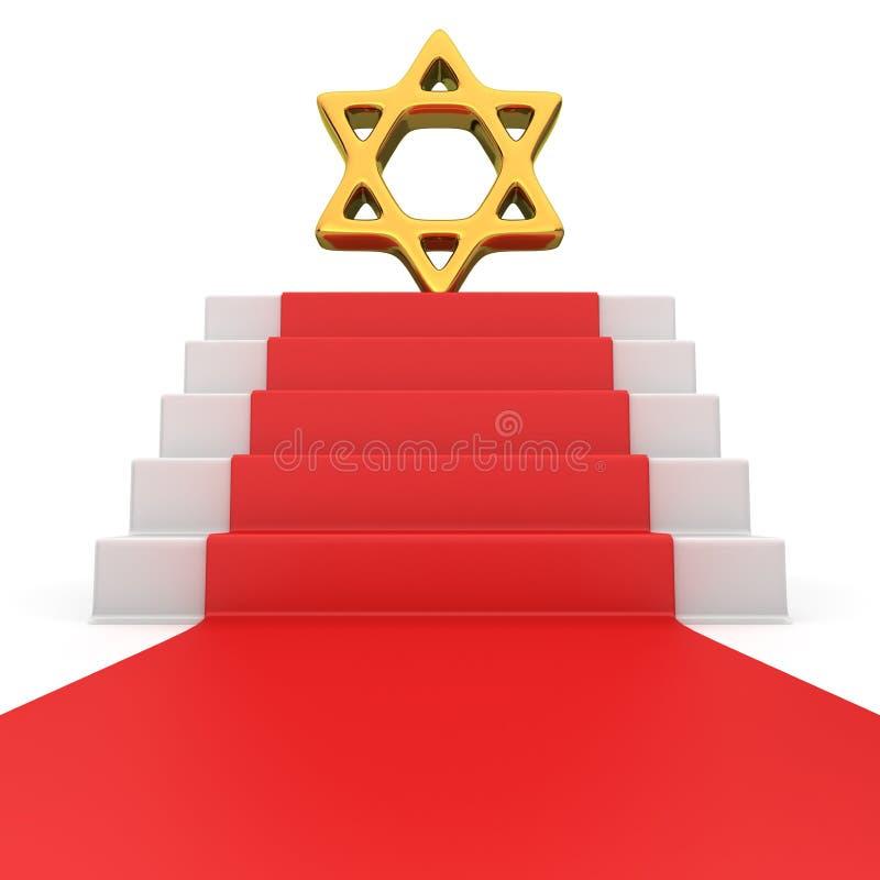 Étoile de David sur le tapis rouge illustration stock