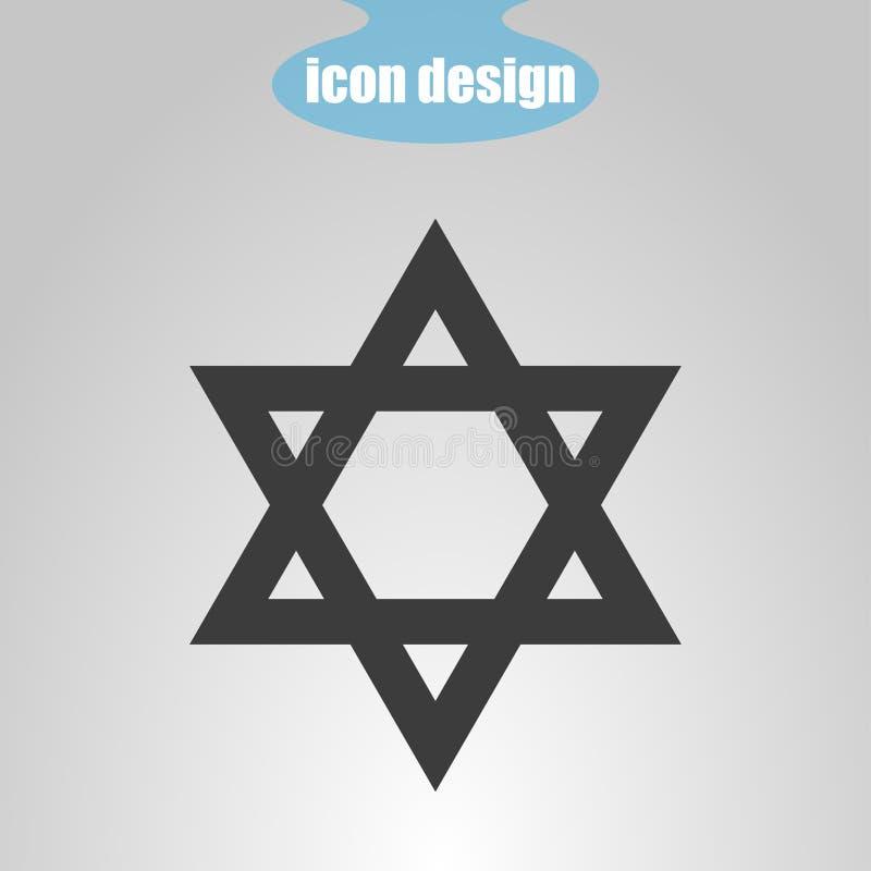 Étoile de David sur un fond gris Illustration de vecteur Signe de judaïsme illustration stock
