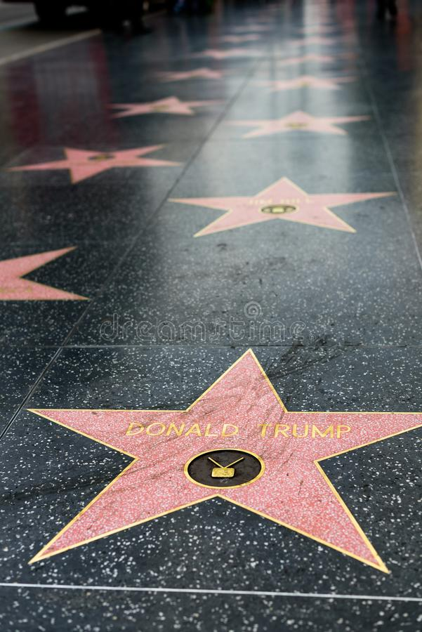 Étoile de Donald Trump sur la promenade de Hollywood de la renommée photographie stock