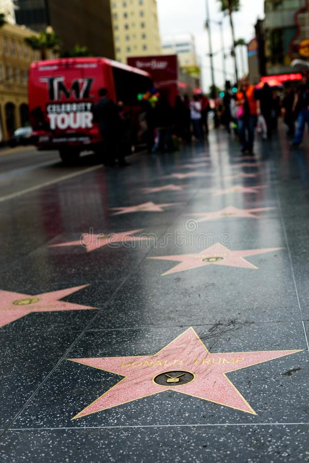 Étoile de Donald Trump sur la promenade de Hollywood de la renommée photos stock