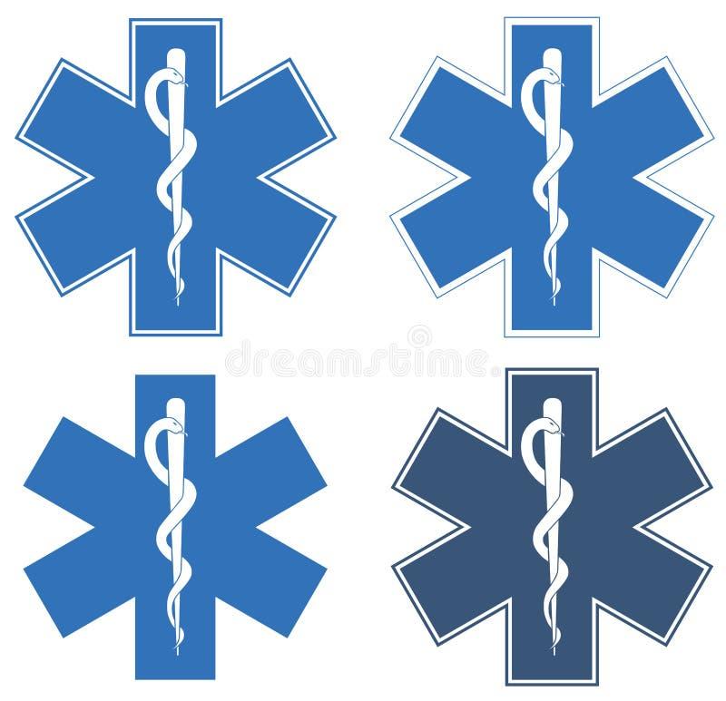 Étoile de durée Étoile six-aiguë bleue au centre - le Rod blanc d'Asclepius images libres de droits