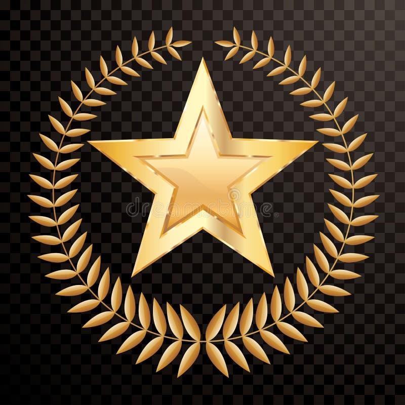 Étoile de guirlande de laurier illustration de vecteur