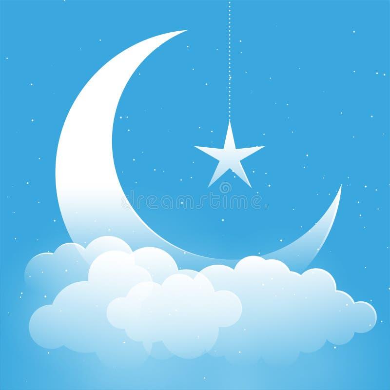 Étoile de lune et fond d'imagination de nuages illustration libre de droits