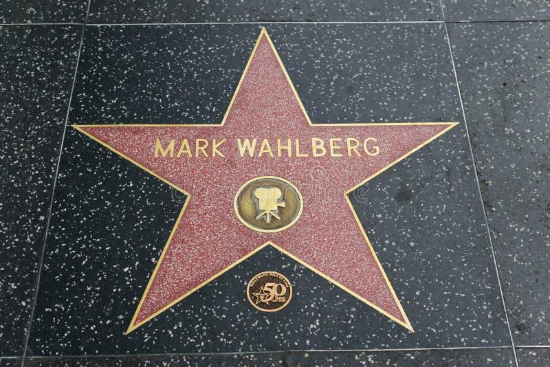 Étoile de Mark Wahlberg sur la promenade de Hollywood de la renommée images libres de droits
