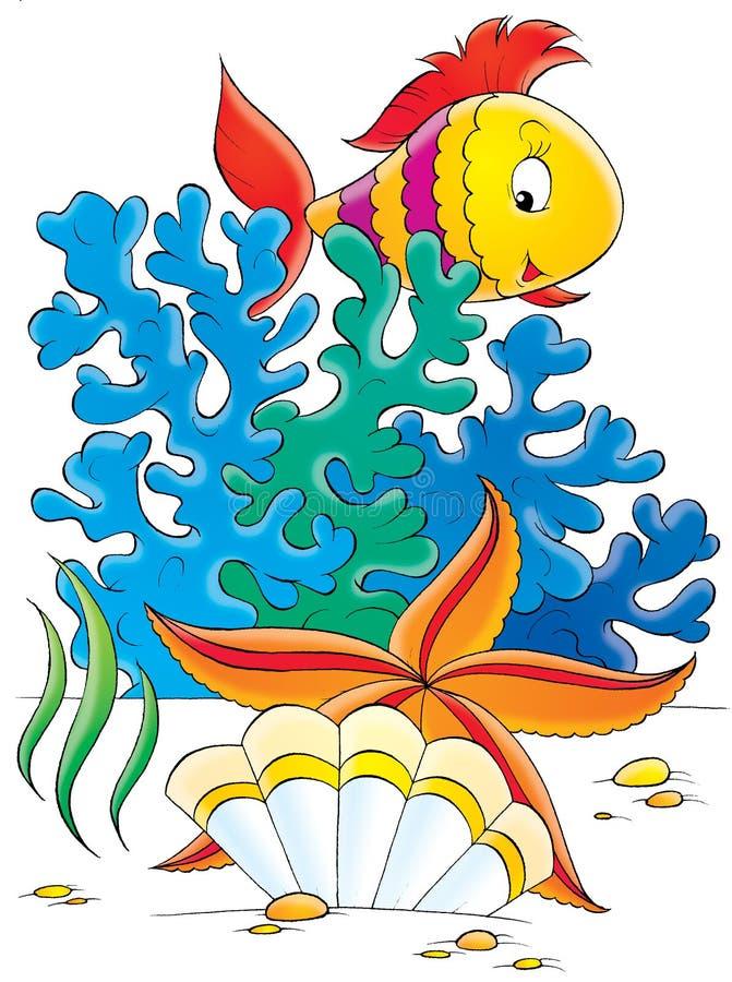 Étoile de mer, interpréteur de commandes interactif et poissons de corail illustration de vecteur
