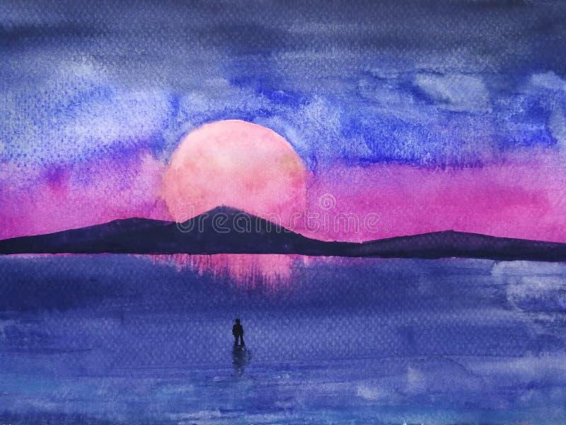 Étoile de montagne de paysage et le support d'homme seul rétro style futuriste des années 1980 illustration libre de droits