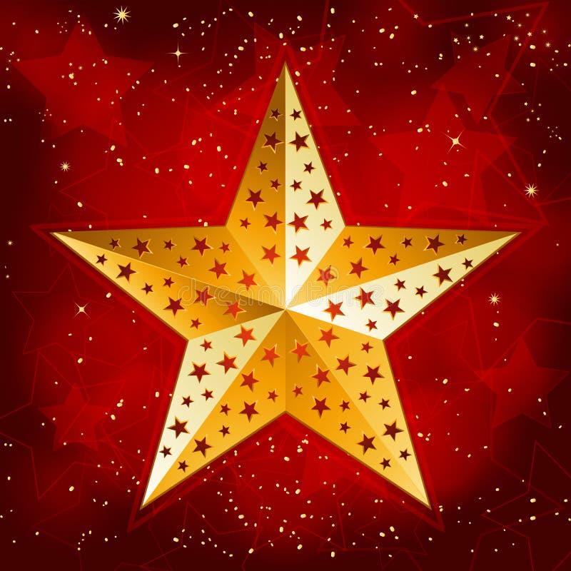 Étoile de Noël d'or illustration de vecteur