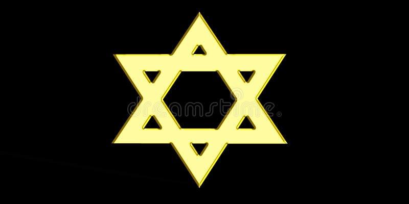 Étoile de noir d'or de fond de David Jewish illustration stock