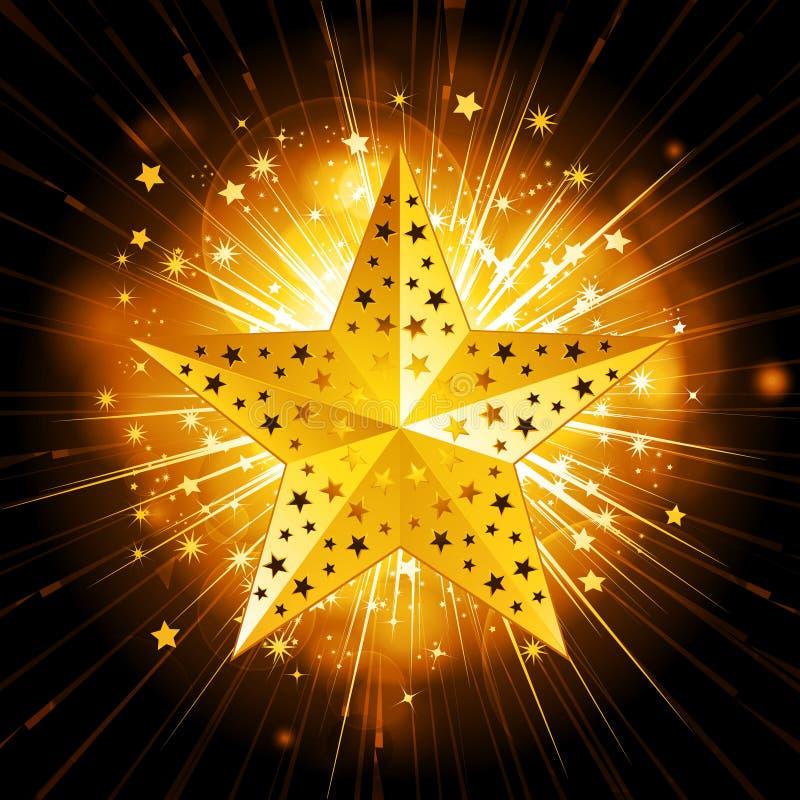 Étoile de pétillement de Noël d'or illustration de vecteur