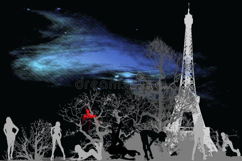étoile de Paris de la poussière de 3 villes illustration stock