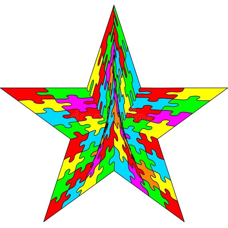 Étoile de puzzle denteux illustration de vecteur
