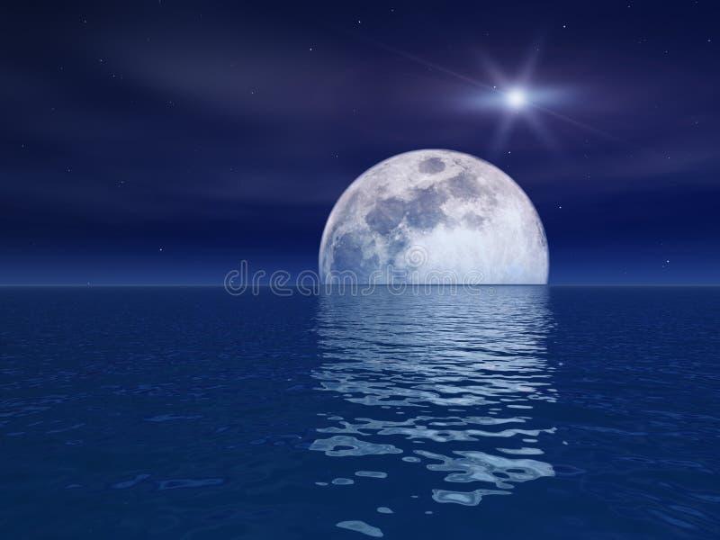 Étoile de quasar au-dessus de lune de nuit au-dessus de mer illustration libre de droits