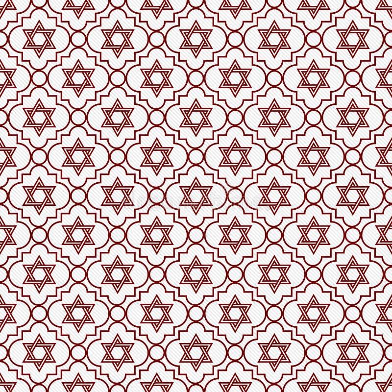 Étoile de rouge et blanche de David Repeat Pattern Background illustration de vecteur