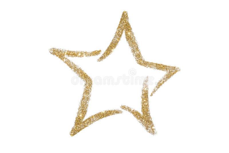 Étoile de scintillement d'or Paillettes Éclat d'or poudre scintillement Symbole brillant images stock