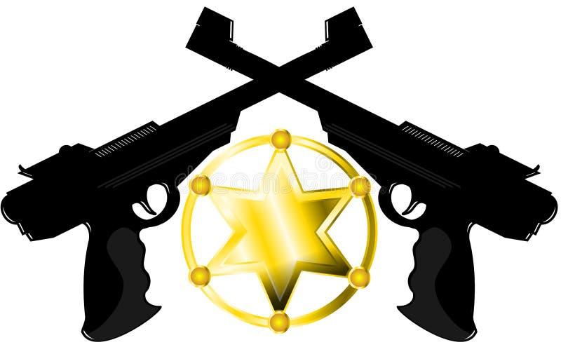 Étoile de shérif avec des armes à feu illustration stock