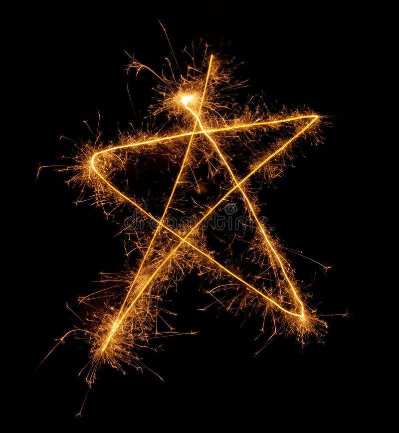 étoile de sparkler de Noël cinq d'angle photographie stock libre de droits