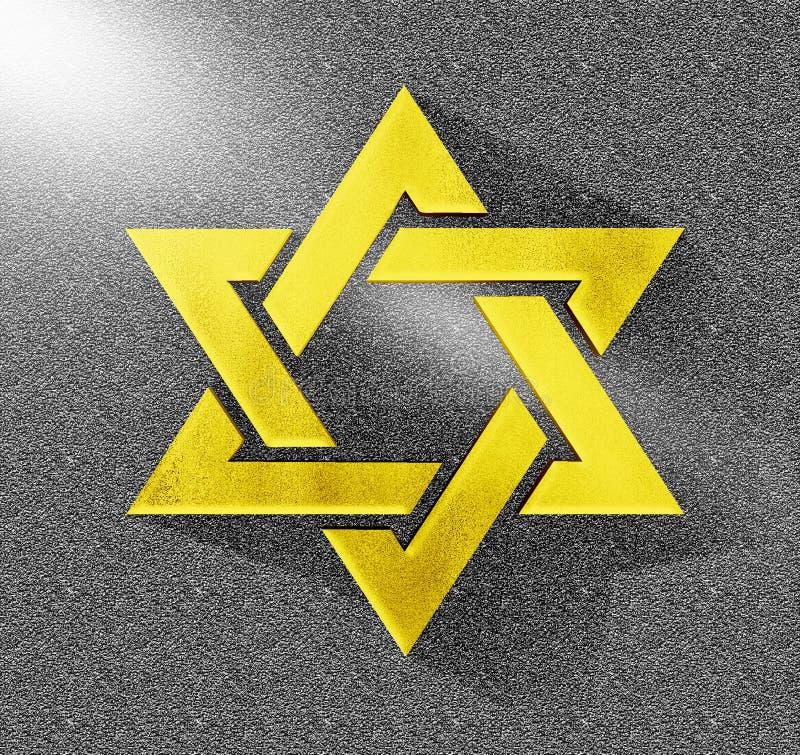 Étoile du jaune 3D de David Gold juif illustration stock