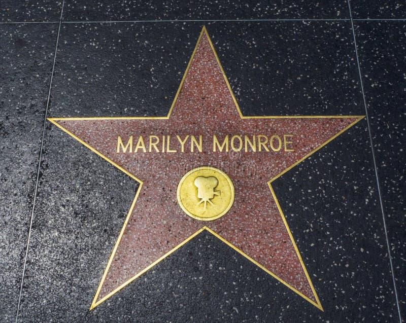 Étoile du ` s de Marilyn Monroe, promenade de Hollywood de la renommée - 11 août 2017 - Hollywood Boulevard, Los Angeles, la Cali image stock
