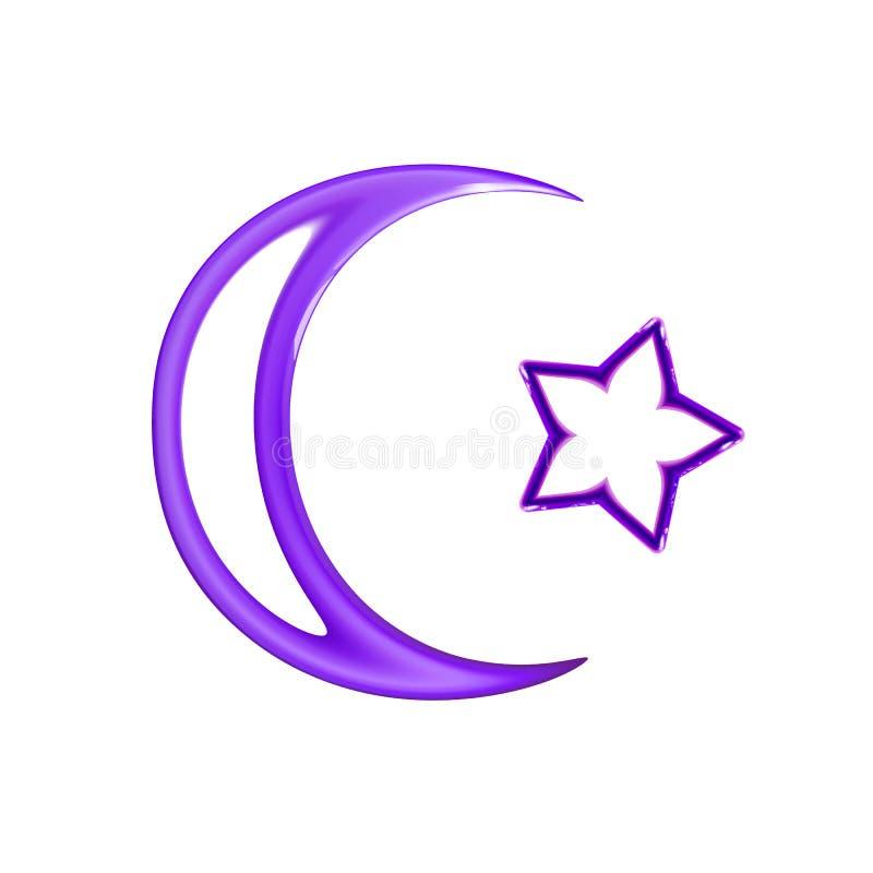 Étoile et croissant de lune, icône brillante violette Le signe religieux islamique de symbole pour le Web de concept et les ?l?me illustration de vecteur
