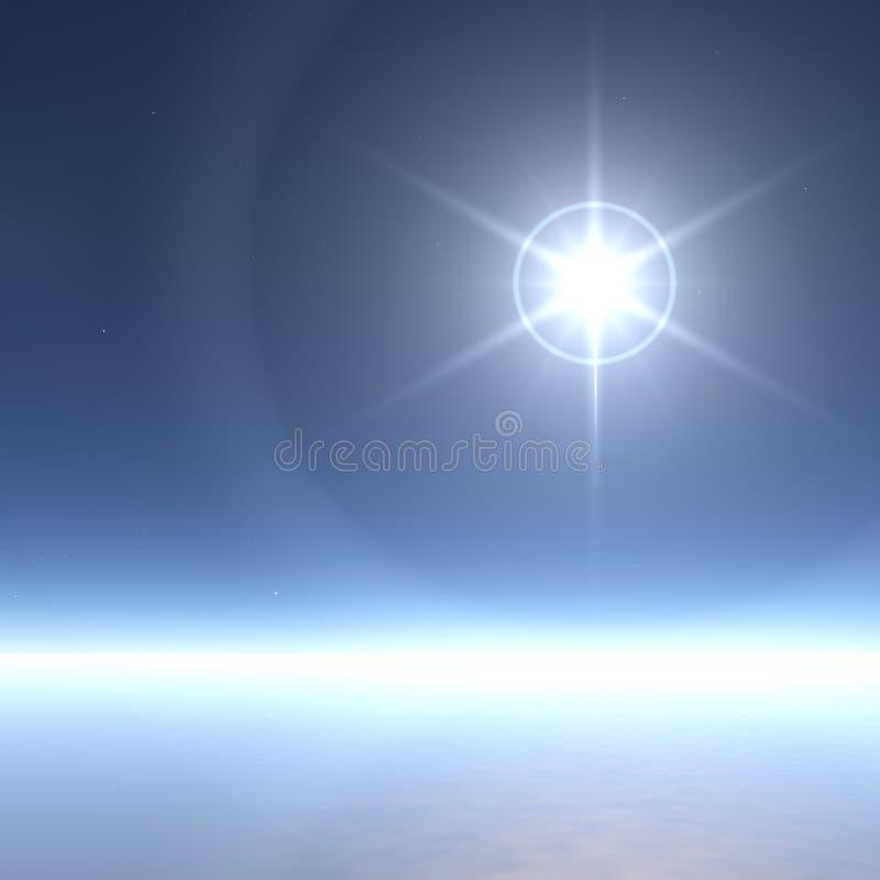 Étoile extrêmement lumineuse avec des boucles de glace illustration stock