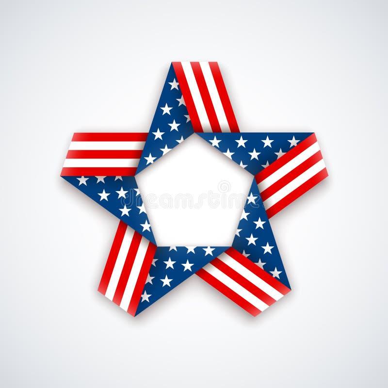 Étoile faite en ruban avec des couleurs et des symboles de drapeau américain Vecto illustration de vecteur