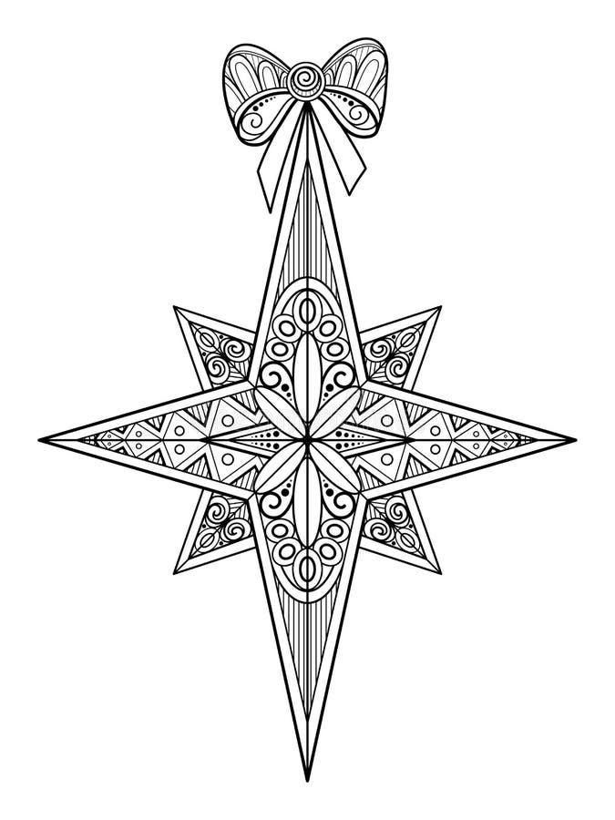 Étoile fleurie monochrome de Noël avec l'arc, bonne année illustration libre de droits