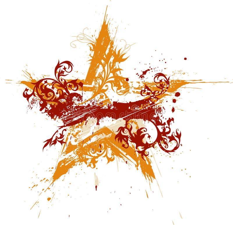 Étoile grunge florale d'or illustration libre de droits