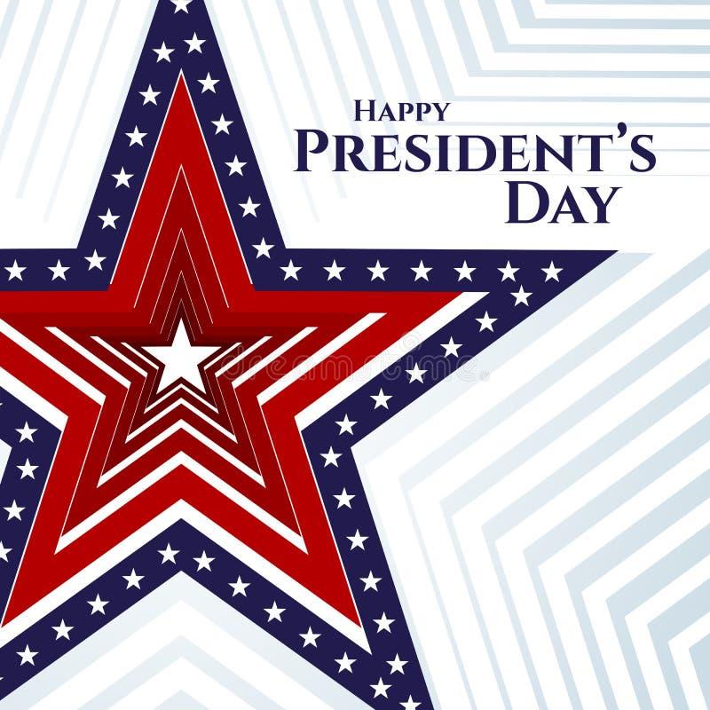 Étoile heureuse de drapeau américain de bannière des textes de jour de président sur les rayures américaines patriotiques d'une é illustration de vecteur