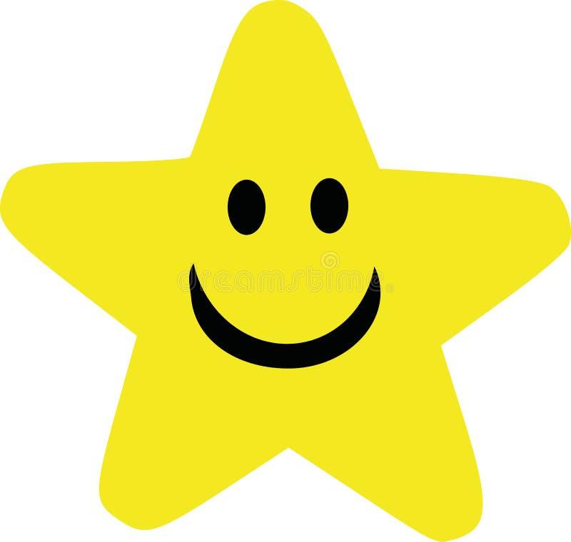 Étoile jaune de bande dessinée avec le visage de sourire illustration libre de droits