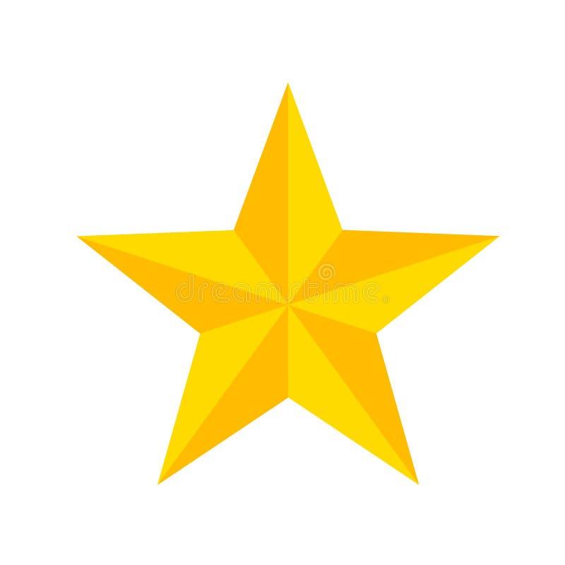 Étoile jaune de bande dessinée sur le blanc, illustration courante de vecteur illustration stock