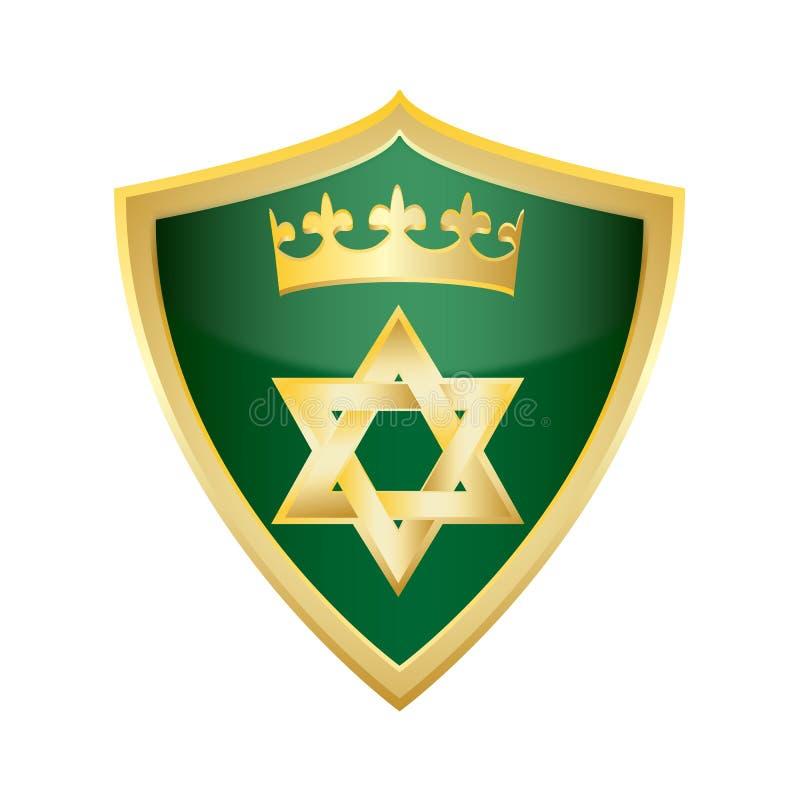 Étoile juive hébreue de vecteur de bouclier de Magen David illustration stock